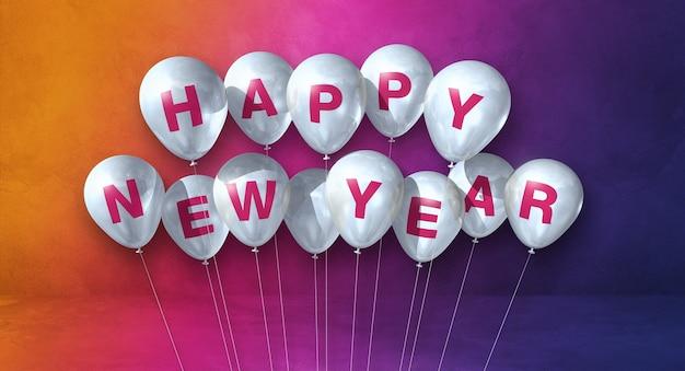 Kilka białych balonów szczęśliwego nowego roku na tle tęczy. baner poziomy. renderowanie ilustracji 3d