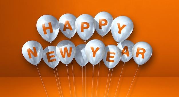 Kilka białych balonów szczęśliwego nowego roku na zielonym tle betonu. baner poziomy. renderowanie ilustracji 3d