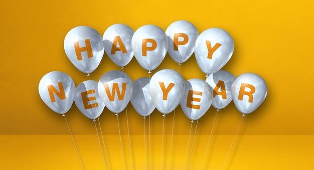 Kilka białych balonów szczęśliwego nowego roku na żółtym tle betonu. baner poziomy. renderowanie ilustracji 3d