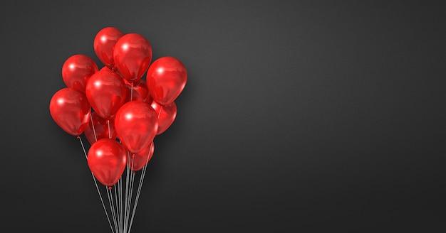 Kilka czerwonych balonów na tle czarnej ściany. baner poziomy. renderowanie ilustracji 3d
