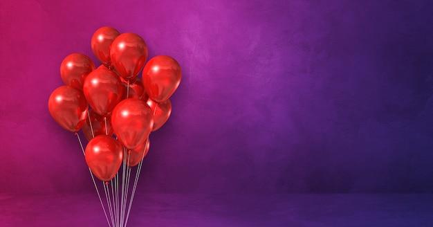 Kilka czerwonych balonów na tle fioletowej ściany. renderowanie ilustracji 3d