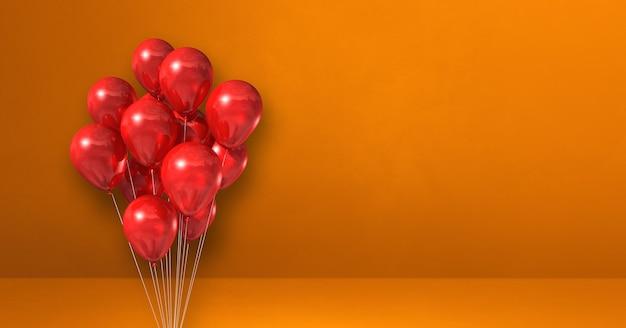 Kilka czerwonych balonów na tle pomarańczowej ściany. baner poziomy. renderowanie ilustracji 3d