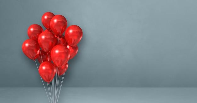 Kilka czerwonych balonów na tle szarej ściany. baner poziomy. renderowanie ilustracji 3d