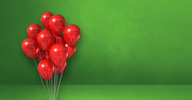 Kilka czerwonych balonów na tle zielonej ściany. baner poziomy. renderowanie ilustracji 3d