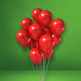 Kilka czerwonych balonów na tle zielonej ściany. renderowanie ilustracji 3d