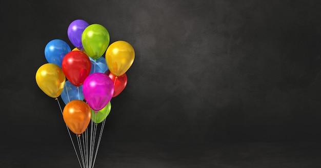 Kilka kolorowych balonów na tle czarnej ściany. baner poziomy. renderowanie ilustracji 3d