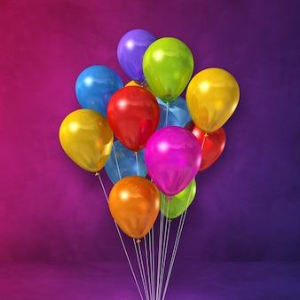 Kilka kolorowych balonów na tle fioletowej ściany. renderowania 3d ilustracji