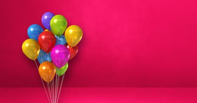 Kilka kolorowych balonów na tle różowej ściany. baner poziomy. renderowanie ilustracji 3d