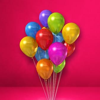 Kilka kolorowych balonów na tle różowej ściany. renderowanie ilustracji 3d