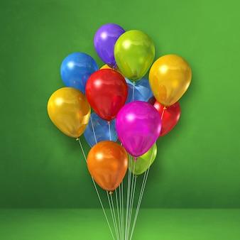 Kilka kolorowych balonów na tle zielonej ściany. renderowanie ilustracji 3d