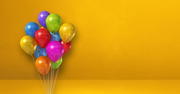 Kilka kolorowych balonów na tle żółtej ściany. baner poziomy. renderowanie ilustracji 3d