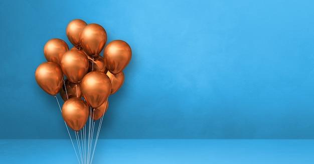 Kilka miedzianych balonów na tle niebieskiej ściany. baner poziomy. renderowanie ilustracji 3d