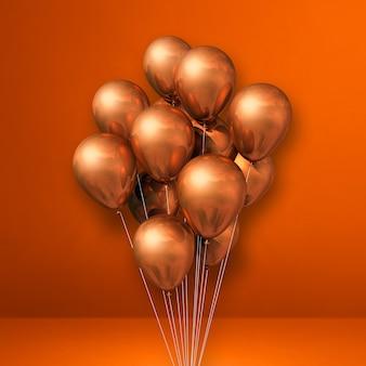 Kilka miedzianych balonów na tle pomarańczowej ściany. renderowania 3d ilustracji