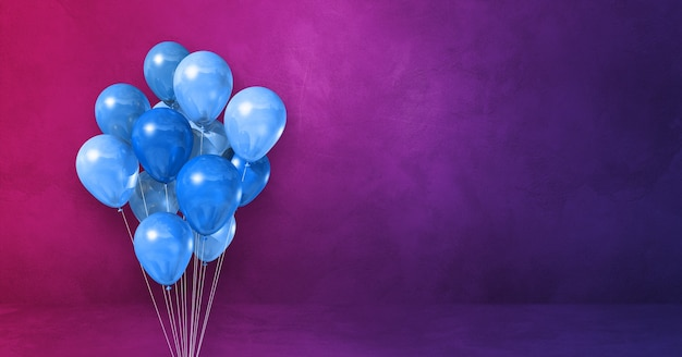 Kilka niebieskich balonów na fioletowym tle ściany. baner poziomy. renderowanie ilustracji 3d