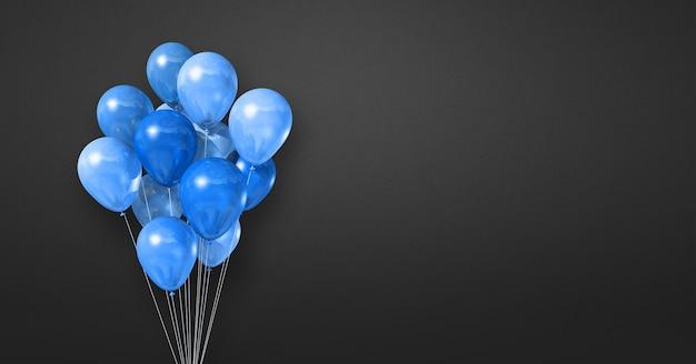 Kilka niebieskich balonów na tle czarnej ściany. baner poziomy. renderowanie ilustracji 3d