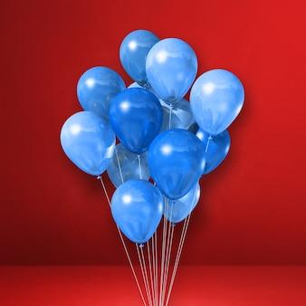 Kilka niebieskich balonów na tle czerwonej ściany. renderowanie ilustracji 3d