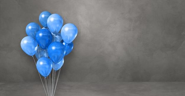 Kilka niebieskich balonów na tle szarej ściany. baner poziomy. renderowanie ilustracji 3d