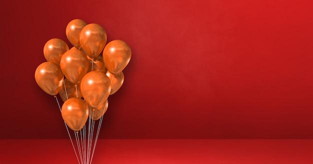 Kilka pomarańczowy balony na tle czerwonej ściany. baner poziomy. renderowanie ilustracji 3d