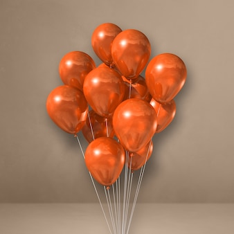 Kilka pomarańczowych balonów na tle beżowej ściany. renderowanie ilustracji 3d