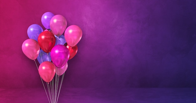 Kilka różowe balony na fioletowym tle ściany. baner poziomy. renderowanie ilustracji 3d