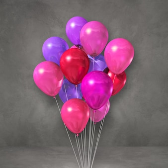 Kilka różowe balony na tle szarej ściany. renderowanie ilustracji 3d