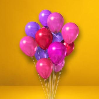 Kilka różowe balony na tle żółtej ściany. renderowanie ilustracji 3d