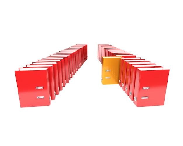 Kilka segregatorów folderów na białym tle. 3d ilustracja.
