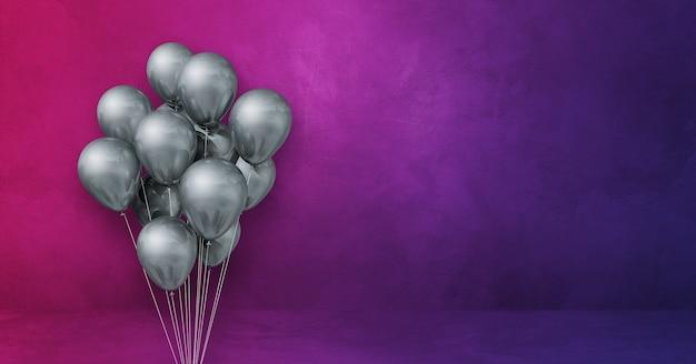 Kilka srebrnych balonów na fioletowym tle ściany. baner poziomy. renderowanie ilustracji 3d