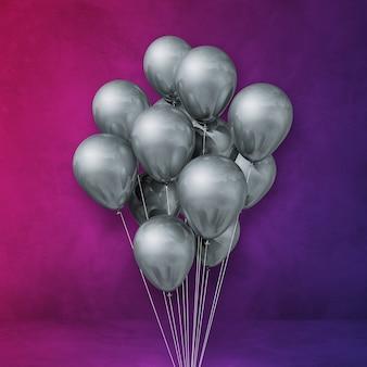 Kilka srebrnych balonów na fioletowym tle ściany. renderowanie ilustracji 3d