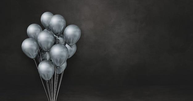 Kilka srebrnych balonów na tle czarnej ściany. baner poziomy. renderowanie ilustracji 3d