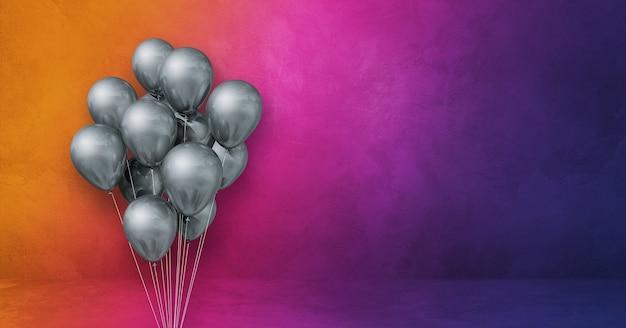 Kilka srebrnych balonów na tle ściany tęczy. baner poziomy. renderowanie ilustracji 3d