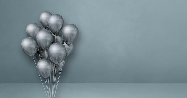 Kilka srebrnych balonów na tle szarej ściany. baner poziomy. renderowanie ilustracji 3d