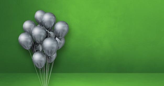 Kilka srebrnych balonów na tle zielonej ściany. baner poziomy. renderowanie ilustracji 3d