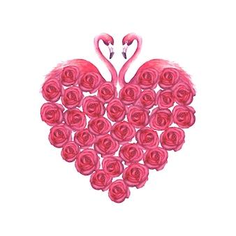 Kilka tropikalnych egzotycznych różowe flamingi i róże serca na białym tle. ilustracja akwarela.