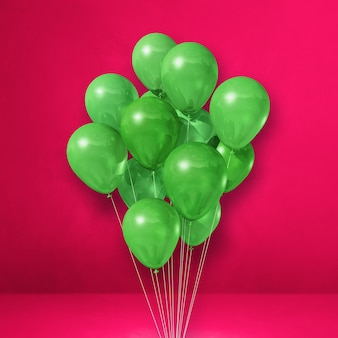 Kilka zielonych balonów na tle różowej ściany. renderowanie ilustracji 3d