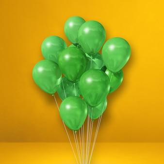 Kilka zielonych balonów na tle żółtej ściany. renderowanie ilustracji 3d