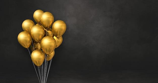 Kilka złotych balonów na czarnej ścianie. poziomy baner. renderowania 3d