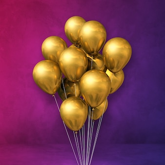 Kilka złotych balonów na fioletowej ścianie. renderowania 3d