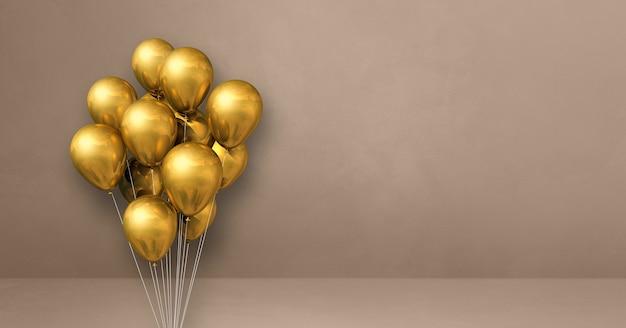 Kilka złotych balonów na tle beżowej ściany. baner poziomy. renderowanie ilustracji 3d