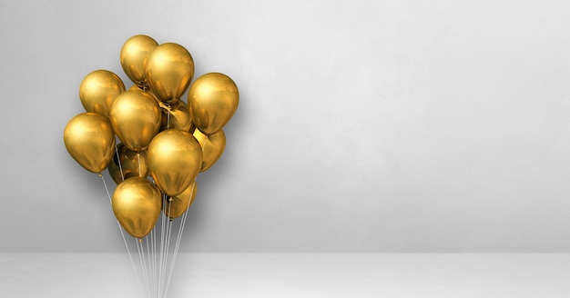 Kilka złotych balonów na tle białej ściany. baner poziomy. renderowanie ilustracji 3d