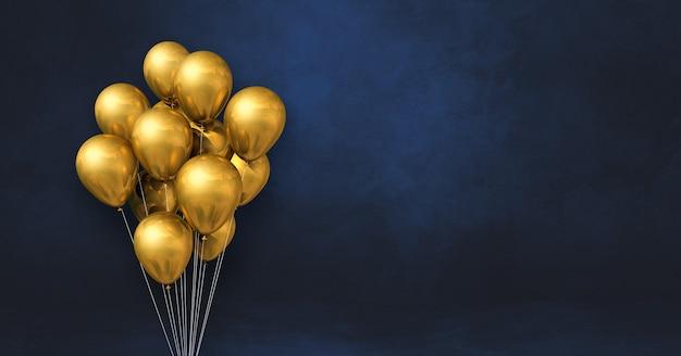 Kilka złotych balonów na tle czarnej ściany. baner poziomy. renderowanie ilustracji 3d