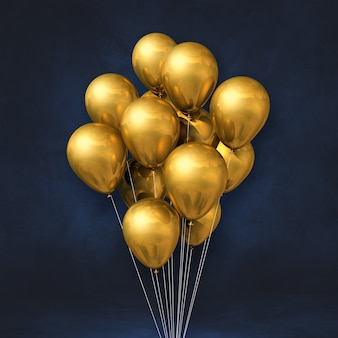 Kilka złotych balonów na tle czarnej ściany. renderowanie ilustracji 3d