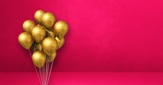 Kilka złotych balonów na tle różowej ściany. baner poziomy. renderowanie ilustracji 3d