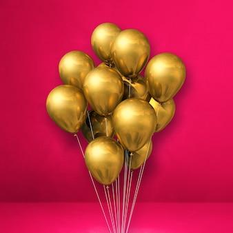 Kilka złotych balonów na tle różowej ściany. renderowanie ilustracji 3d