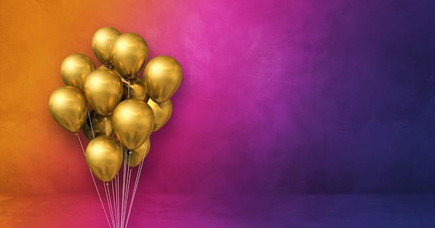 Kilka złotych balonów na tle ściany tęczy. baner poziomy. renderowanie ilustracji 3d