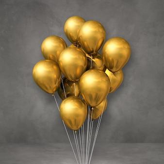 Kilka złotych balonów na tle szarej ściany. renderowanie ilustracji 3d