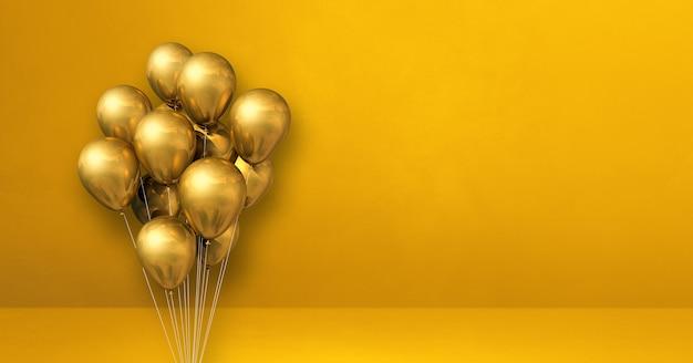 Kilka złotych balonów na tle żółtej ściany. baner poziomy. renderowanie ilustracji 3d