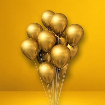 Kilka złotych balonów na tle żółtej ściany. renderowanie ilustracji 3d