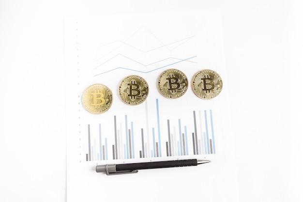 Kilka złotych monet bitcoinowych obok długopisu na wykresie