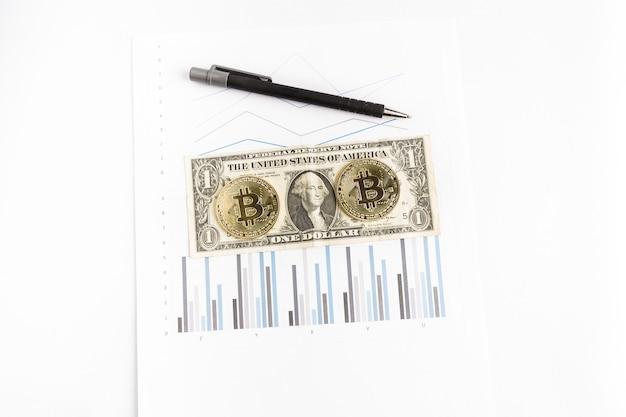 Kilka złotych monet bitcoinowych obok dolara i długopisu na wykresie
